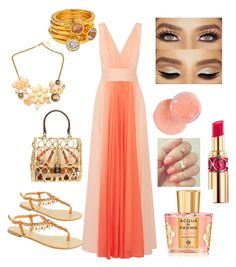 """""""wedding on the beach 2.0"""" by martyswordrobe on Polyvore featuring Halston Heritage, Dolce&Gabbana, Modern Rush, Bita Pourtavoosi, Yves Saint Laurent and Acqua di Parma"""