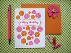 Happy Birthday Flowers  letterpress card by LuckyBeePress on Etsy, $5.00