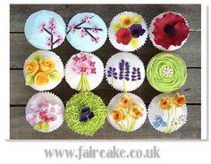 Spring Garden Cupcakes by Fair Cake Garden Cupcakes, Spring Cupcakes, Pretty Cupcakes, Beautiful Cupcakes, Sweet Cupcakes, Flower Cupcakes, Yummy Cupcakes, Cupcake Vintage, Cupcake Art