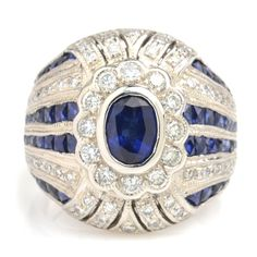 This Estate Art Deco Style Sapphire And Diamond Ring Is Straight Out Of The Gatsby Playbook, Style And Decadence. #347-131915