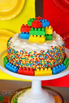 LEGO birthday cake with fondant legos