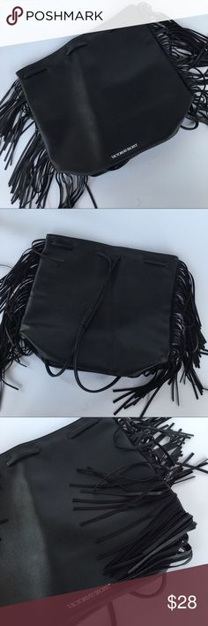 """Victoria's Secret Fringed Backpack New Faux Leather. Black leather fringe Victoria's Secret backpack Purse very versatile can be used has a purse with draw string closure or backpack. Size 16 x 14H bottom 6""""W opening 13"""" drop 11"""" Victoria's Secret Bags Backpacks"""