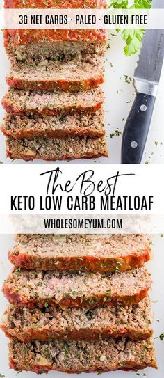 This paleo low carb meatloaf recipe is super easy to make. You need only 8 ingredients and 10 minutes prep time to make the best keto meatloaf! Beef Recipes, Real Food Recipes, Healthy Recipes, Healthy Meatloaf Recipes, Protein Recipes, Smoothie Recipes, Keto Foods, Meatloaf Recipe Video, Whole 30 Meatloaf Recipe