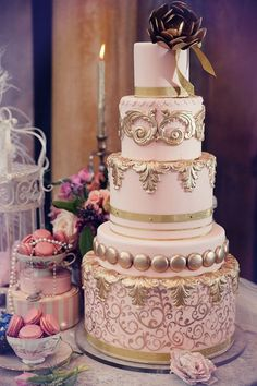 The Pastry Studio's {Blush & Gold} cake design and french macarons are featured in Grace Ormonde Wedding Style digital magazine Elegant Wedding Cakes, Elegant Cakes, Beautiful Wedding Cakes, Gorgeous Cakes, Wedding Cake Designs, Pretty Cakes, Wedding Cupcakes, Amazing Cakes, Bolo Cake