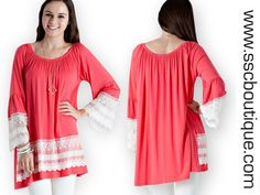 Sweet Lace 2 Way Tunics $39.50!! A solid jersey two way tunic featuring lace details. Lace bell sleeve. Elasticized neckline. S,M,L! Available in Coral, Mint and Royal Blue! Order now!  http://www.sscboutique.com/collections/new-arrivals/products/sweet-lace-2-way-tunics  #shop #summerlooks #boutique #instafashion