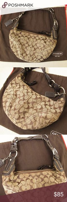 6cbe20a2f COACH • Signiture Small Hobo Bag 🚫TRADES 🚫LOW OFFERS Authentic Tan  monogram canvas &