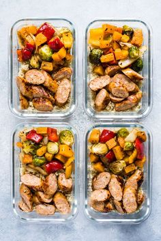 Sheet Pan Sausage and Veggies This Healthy Sheet Pan Sausage and Veggies recipe by premiofoods is easy, delicious and perfect for meal prep. It s gluten free, dairy free, paleo and Healthy Sheet Pan Sausage and Veggies recipe by premiofoods is Easy Healthy Meal Prep, Easy Healthy Recipes, Healthy Drinks, Lunch Recipes, Healthy Snacks, Easy Meals, Simple Meal Prep, Easy Meal Prep Lunches, Paleo Meal Prep