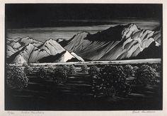 Indigo Mountains by Paul Landacre. Wood Engraving, 1930