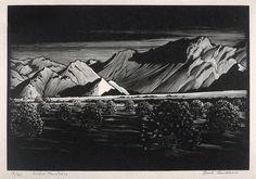 Indigo Mountains by Paul Landacre. Wood Engraving, 1930
