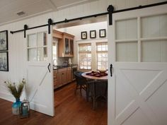 Sliding barn doors offer both easy access to and privacy for this large family game room. The doors can be closed to create a private retreat or opened up to facilitate easy entertaining of family and friends. Layout Design, Design Ideas, Barn Wood Decor, Old Barn Doors, Barnwood Doors, Barnwood Ideas, The Doors, Sliding Doors, Rustic Office