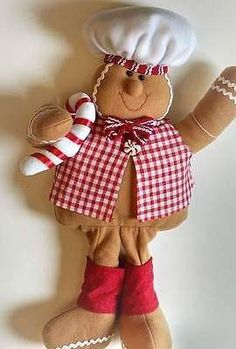 Brown-Fabric-Christmas-Gingerbread-Man-Decoration
