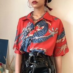 Summer Women Tops Harajuku Blouse Women Dragon Print Short Sleeve Blouses Shirts Streetwear color Red size One Size Mode Outfits, Fashion Outfits, Womens Fashion, Fashion Ideas, Grunge Outfits, Classy Outfits, Chic Outfits, Summer Outfits, Korean Outfits