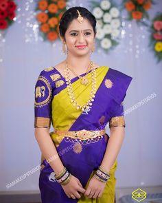 combinations of sarees Pattu Saree Blouse Designs, Half Saree Designs, Bridal Blouse Designs, Pattu Sarees Wedding, Bridal Silk Saree, Bridal Lehenga, Indian Bridal Fashion, South Indian Bride, Indian Beauty Saree
