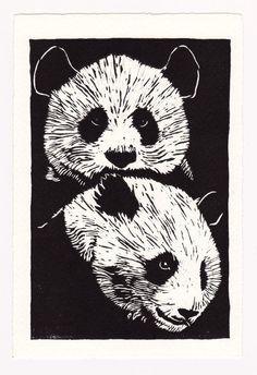 Resultado de imagen de panda linoleografia