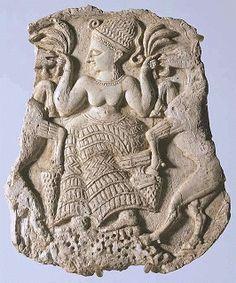 Couvercle de pyxide Déesse nourissant des caprins  Vers 1250 avant J.-C.  Minet el Beida, port d'Ougarit, tombe 3 Ivoire d'éléphant