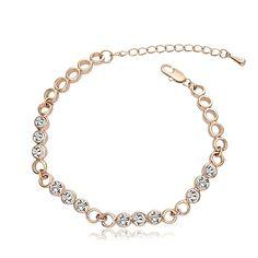 "#BestGift for #MothersDay OUXI 6.8"" #RoseGold Plated Clear #CubicZirconia #Bracelet #Diamond #Crystal #linkbracelet"
