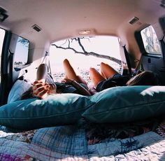 I wanna do this with my best friend. Sleep in the back of the car while out camping or something. :D