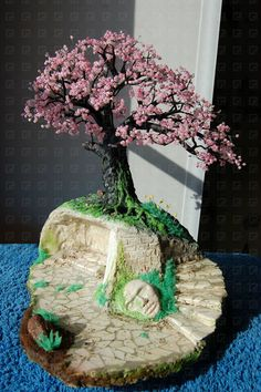 beaded cherry blossom tree picture tutorial - bet you could make cool centerpieces with these