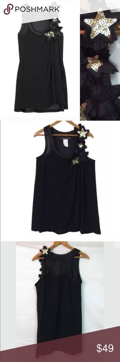 """By MALENE BIRGER Darling $250 Sequin Star Asindia By MALENE BIRGER Darling $250 Sequin Star Tank Top Sz 36 6 Asindia Sheer  S52   Size: EU 36            US 6  Excellent condition! . Slight sheerness and may require appropriate undergarments. Polyester.   Underarm to underarm 35""""  Midshoulder to hem 29.5"""". Malene Birger Tops Tank Tops"""