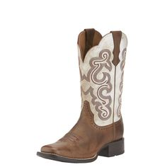 Ariat Womens Brown and Distressed White Quickdraw Square Toe Boots 10015318 Women's Quickdraw boots Sandstorm brown foot with dristressed white shaft Full grain leather foot and shaft 11 inch shaft Square toe inch heel ATS footbed Duratread outsole Wedding Dress, Wedding Boots, Wedding Attire, Georgia Boots, Square Toe Boots, Square Toe Cowgirl Boots, Cute Cowgirl Boots, Cowgirl Outfits, Bride Shoes