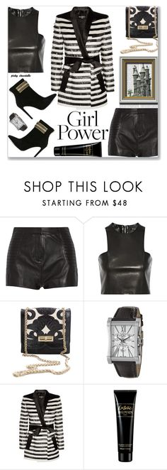 """My Power Look - Dark & Bold: 07/07/17"" by pinky-chocolatte ❤ liked on Polyvore featuring Oris, Pierre Balmain and Balmain"