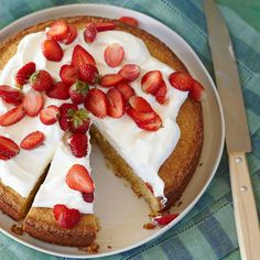 Cornmeal-Almond Cake with Strawberries and Mascarpone: This buttery cornmeal cake contains more than a half-pound of toasted almonds, giving it an excellent, nutty flavor.