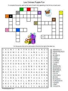 Printable Spanish FREEBIE of the Day: Los Colores Puzzle Fun worksheet from PrintableSpanish.com