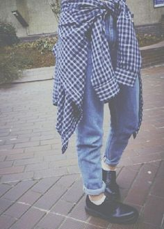 jeans blue vintage 80's 90's grunge soft grunge checked shirt indie tumblr