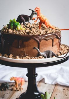 "We love this Chocolate Chips Ahoy Dinosaur Cake, complete with cookie ""dirt."" Fun cake idea for a dinosaur-themed birthday party."