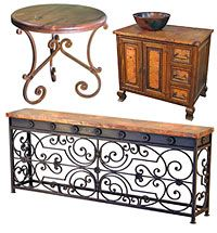 Tuscan style furniture wrought iron, rustic wood and copper