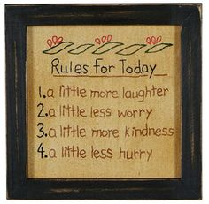 Rules for Today Framed Sampler Primitive Country Embroidered Stitchery Reminder | eBay