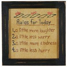 Rules for Today Framed Sampler Primitive Country Embroidered Stitchery Reminder | eBay