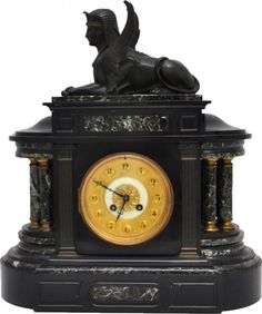 FRENCH EGYPTIAN REVIVAL BRONZE & MARBLE MANTLE CLOCK : Lot 70