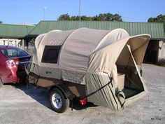 DIY tent trailer - this is a truck bed tent on a trailer. If you click through to the link he explains how he did it so that all he has to do is lay the bows down flat without having to disassemble the tent, I love it!