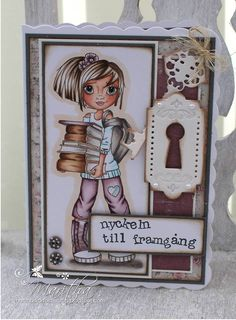 Another awesome card created using School Books digi by Maritha.  Image is from Cute as a Button digi stamps found on Etsy.