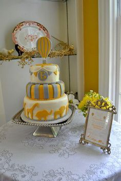 Hot Air Balloon Baby Shower Cake Table
