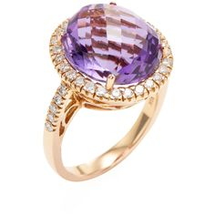 Vendoro Women's 18K Rose Gold, Amethyst & 0.54 Total Ct. Diamond... (€1.940) ❤ liked on Polyvore featuring jewelry, rings, diamond rings, 18k diamond ring, gold diamond rings, amethyst diamond ring and pink gold rings