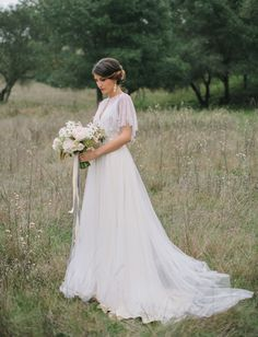 Gorgeous BHLDN wedding dress + caplet