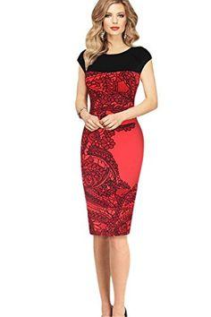 COCO clothing CouleurContrast Imprimée Col Rond Moulante Manche Courte  Dames Crayon Robe de Fête Bureau pour 5f5b2ff1e5e8