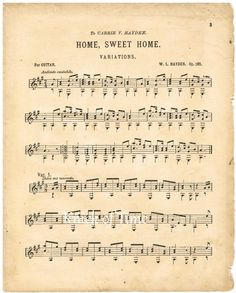 Antique Music Page  HOME SWEET HOME  Digital