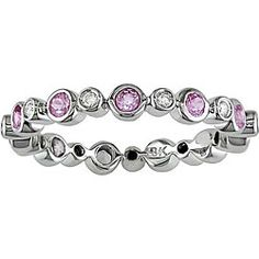 14k Gold 1/4ct TDW Diamond and Pink Sapphire Eternity Band - Overstock.com $350