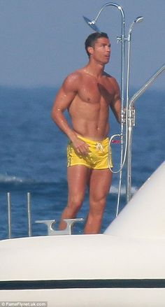 Ronaldo cooled down after his dance performance with a shower aboard the luxury yacht...