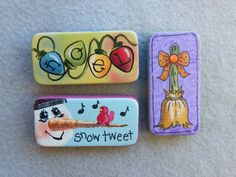 Just Fine Designs Painting Patterns by Sandy LeFlore Painted Pavers, Painted Rocks, Hand Painted, Domino Crafts, Domino Art, Brick Crafts, Tile Crafts, Christmas Art, Christmas Projects