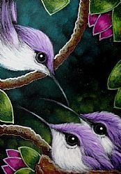 Art: BABY VIOLET HUMMINGBIRDS - MOM IS HERE by Artist Cyra R. Cancel