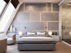 Contemporary modern bedroom with backlit custom designed wall as headboard, featured on NONAGON.style