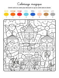 Dibujo mágico para colorear en francés de soldados protegiendo una fortaleza Fall Coloring Pages, Printable Coloring Pages, Coloring Sheets, Coloring Books, Kindergarten Portfolio, Kindergarten Worksheets, Color By Numbers, Paint By Number, Color By Number Printable