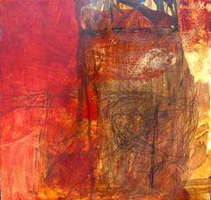 "jeri-ledbetter - Red Fish Bend II,"" oil/mm/panel, 25"" x 25"""