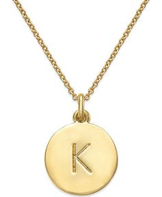 kate spade new york Gold-Plated Initials Pendant Necklace - Fashion Jewelry - Jewelry & Watches - Macy's Jewelry Box, Jewelry Watches, Jewelry Accessories, Jewelry Necklaces, Jewlery, Nice Jewelry, Pretty Necklaces, Boho Jewelry, Jewelry Design