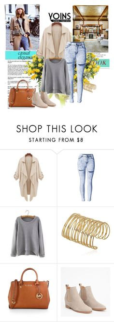 """Skinny-Jeans-In-Light-Wash-With-Shredded-Rips"" by dzena-05 ❤ liked on Polyvore featuring MICHAEL Michael Kors, DENY Designs and yoins"