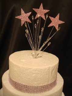 wired glitter princess baby pink star crystal trim birthday cake topper  | eBay